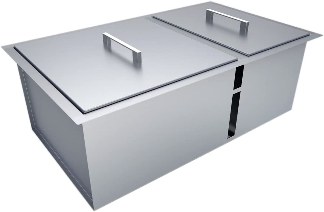"""Sunstone B-Sk34 Over/Under Height Double Basin Sink mit Covers, 34"""" X 12"""", Stainless Steel"""