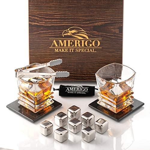 Amerigo Edelstahl Whisky Steine Geschenkset mit Whisky Gläser - Hohe Kühltechnologie - 8 Whiskey Eiswürfel Wiederverwendbar & 2 Untersetzer - Männer Geschenke - Papa Geschenk - Whisky Zubehör