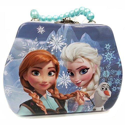 (Master Toys Disney Frozen Princess Elsa and Anna with Olaf Beaded Handle Tin Purse Toy)