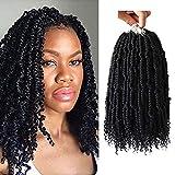 14 inch Fluffy Spring twist crochet hair 4 pack Crochet braids black Synthetic crochet spring twist curl end