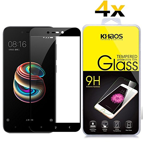 [4 Pack] Redmi 5A Screen Protector, Full Screen Coverage KHAOS Tempered Glass Screen Protector for Xiaomi Redmi 5A (5.0) 9H HD-Clear Ant-Scratch Glass Protector -Black