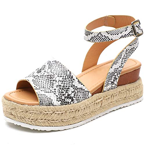 (XMWEALTHY Women's Ankle Strap Platform Wedges Sandals Casual Open Toe Espadrilles Sandals for Summer Beige Python US 6)