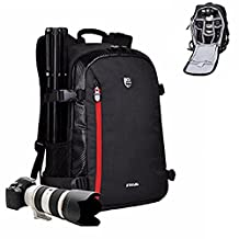 Camera Backpack DSLR SLR Camera Backpack Camera Bag with Tripod Strap for Canon Nikon Sony Olympus Pentax and etc (Black)