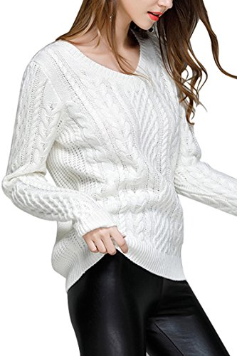 Ladies V-neck Cable - Sovoyontee Women Irish Sweater Cable Knit Casual Pullovers Long Sleeve White Large