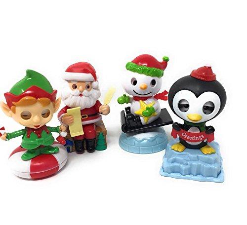 Solar Powered Christmas Characters ~ Sledding Snowman, Santa with List, Elf on Starlight, Greetings Penguin (Set of 4) GreenBrag