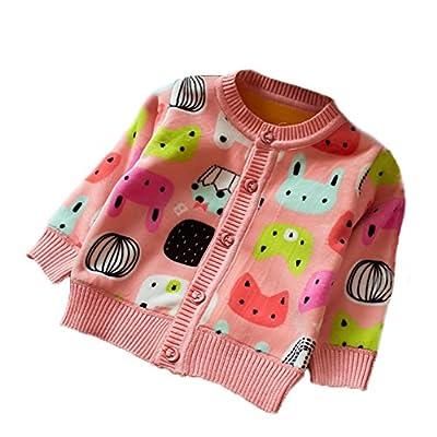 Zhuannian Baby Girls Cartoon Fleece Cardigan Button Sweaters