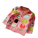 Zhuannian Baby Girls Carton Fleece Cardigan Button Sweaters (18-24months/Tag 12, Pink)