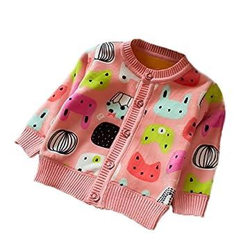 Zhuannian Baby Girls Carton Fleece Cardigan Button Sweaters (12-18months/Tag 10, Pink)