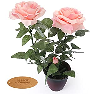 YOBANSA Silk Artificial Flowers in Flower Pots Artificial Rose Flowers Arrangement for Home Office Decoration 114