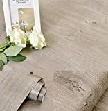 Emoyi Self-adhesive Removable Wood Grain Faux Finish Textured Vinyl Wrap Contact Paper Film for Home Office Furniture 12''x79'' (Dark Grey)