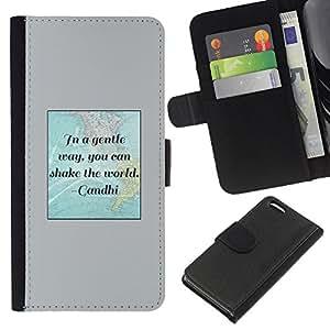 KLONGSHOP // Tirón de la caja Cartera de cuero con ranuras para tarjetas - Cita de Gandhi Movimiento Mundial por la Paz - Apple Iphone 5C //