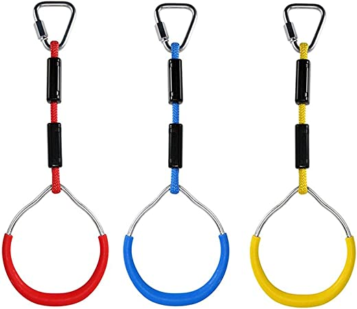 Colorful Backyard Outdoor Gymnastic Ring Ninja Tree Hanging Obstacle Course Kit Climbing Play Set for Kids 3pcs Swing Bar Rings