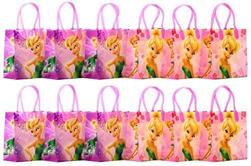 """Disney Tinker Bell Party Favor Goodie Gift Bag - 6"""" Small Size (12 Packs)"""