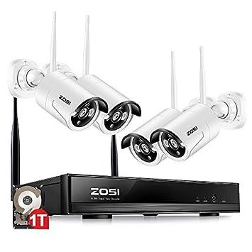 ZOSI Sistema de Seguridad 4CH 4 Cámaras 960P WiFi NVR HD CCTV Kit de Seguridad Grabador IPC inalámbrico Cámara de Vigilancia Grabadora Definición Alta 1TB ...