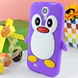 CoversFromUs Purple Cute Penguin Silicone Gel Soft Cover Case for Samsung Galaxy S4 SIV