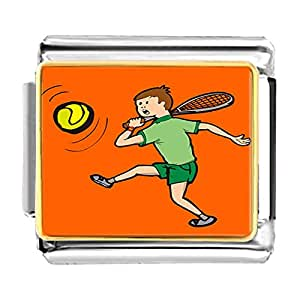 Chicforest Gold Plated Olympics man tennis player swinging racket Bracelet Link Photo Italian Charm
