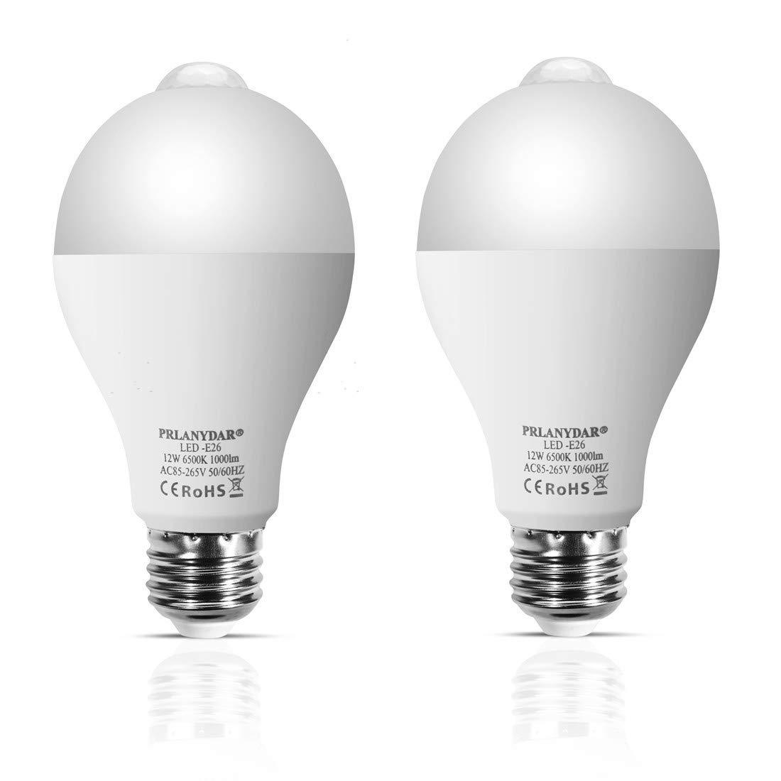 2 Pack Sensitive Sensor Light Bulb 3200K 12W E26 Smart PIR Sensor LED Bulbs 1000LM Automatic LED Light Bulb for Outdoor//Indoor Warm White