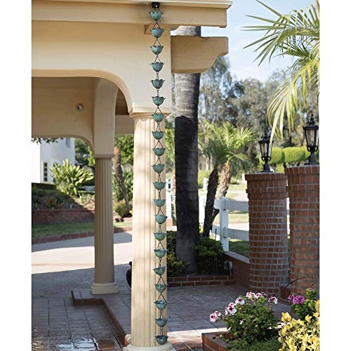 (Hanging 8.5 Rain Chain Copper Green Lotus Flower Rain Catcher Decor Coastal Downspouts Gutter Decorative Raining Channel to Ground Farmhouse Rustic Tropical, Metal)