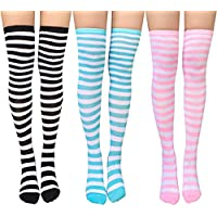 Chalier Womens Knee-High Socksstretchystriped Stocking Thigh High Socks 2 or 3 Pairs