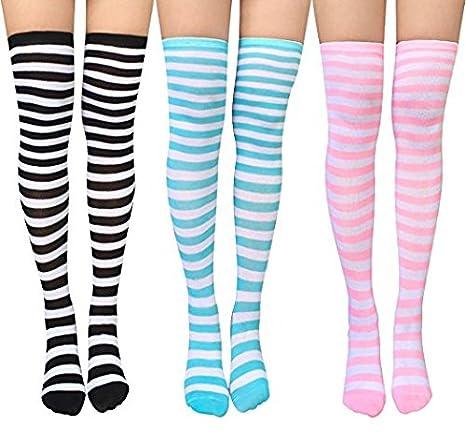 Chalier 3 Paar Damen Lange Gestreifte Socken über Knie Oberschenkel Hohe Socken Strumpf SMR-053-1