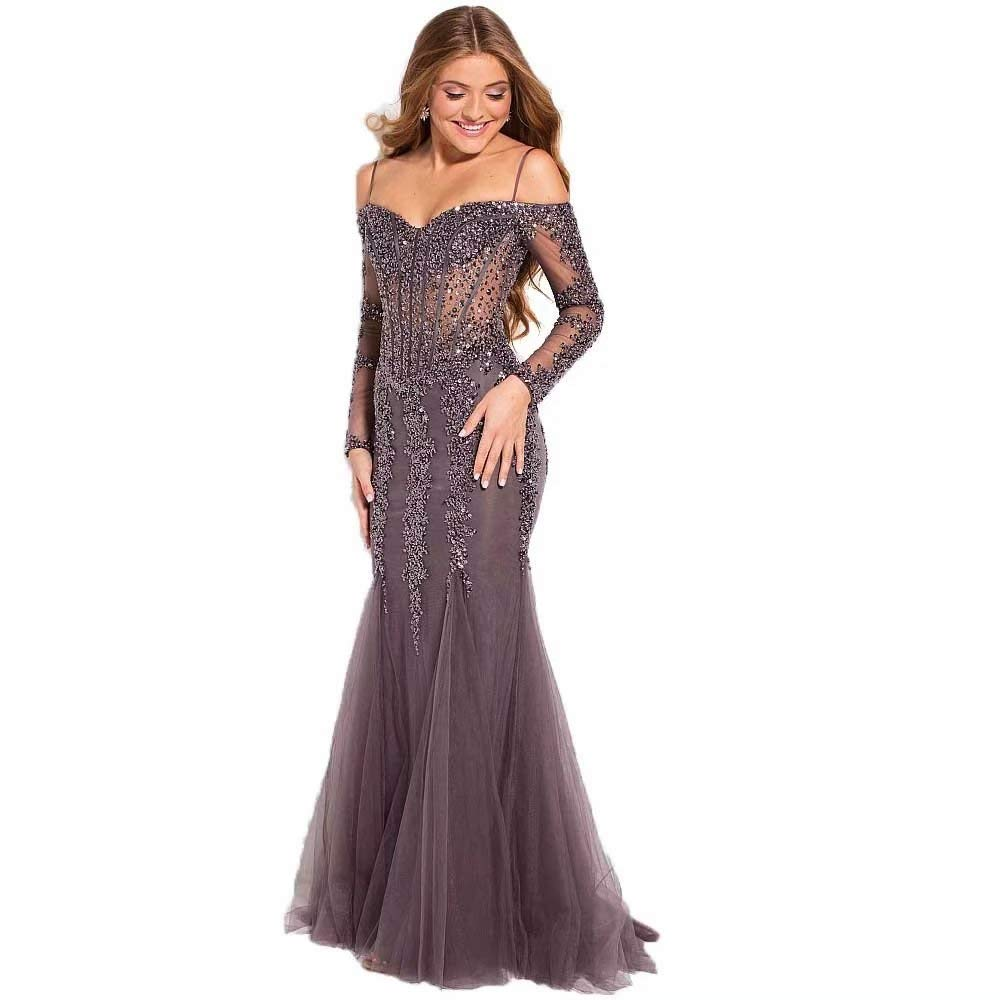 Lace Applique Evening Dresses for Women Long Prom Party Gown