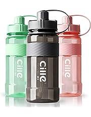 Drinkfles, 1 liter, waterfles, sportfles voor fitness, wandelen, kamperen, outdoorsporten, flessen van BPA-vrij, lekvrij, duurzaam (1000 ml, A-grijs)