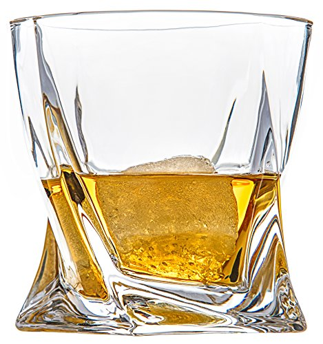 Van Daemon - 'Tasman Twist' Whiskey Glasses - Lead Free Crystal. Set of 2 Tumblers (10oz) for Liquor. Perfect as a Gift. (Glass Liquor)