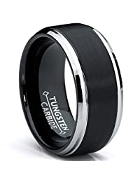 Metal Masters Co.® 9MM Black Two Tone Tungsten Carbide Men's Brushed Wedding Band Ring, Comfort Fit Sizes 8 to 13