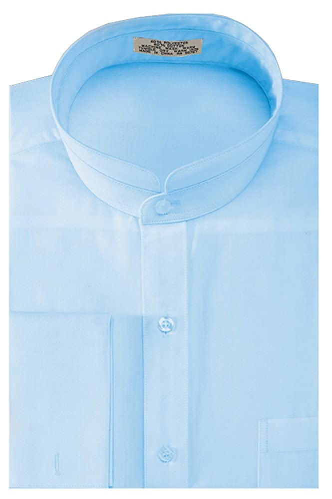 Sunrise Outlet Men's Solid Banded Collar French Cuff Dress Shirt Solid Color NTP-DS3002C