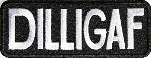 Dilligaf Patch Size: 4X1.5 Inch Funny Biker Embroidered Motorcycle Mc Club Biker Vest Patch Sew On Patches Badge