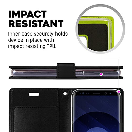 GOOSPERY Galaxy S9 Case for Samsung Galaxy S9, [Tri-Fold Wallet Case] Rich Diary [Drop Protection] PU Leather Cover [Perfect Fit] Shock Absorbing TPU Casing [ID Card & Cash Holders]