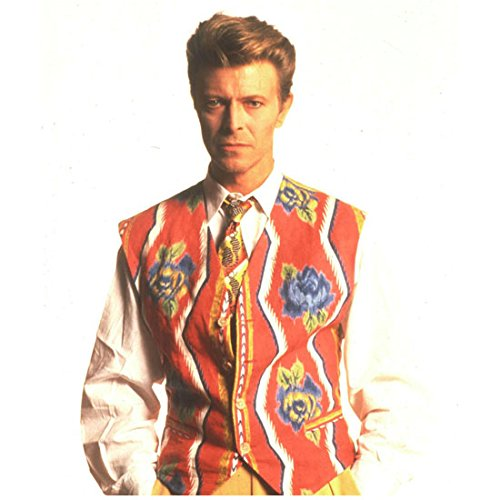 David Bowie 8inch x 10inch Photo Labyrinth Basquiat The Hunger The Man Who Fell to Earth Red & Blue Floral & Zigzag Pattern on Vest Hands in Pockets (Floral Labyrinth)