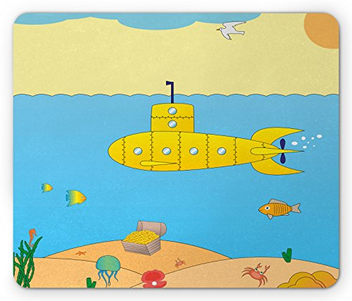 Yellow Submarine Cartoon - Yellow Submarine Mouse Pad by Ambesonne, Cartoon Under Sea Adventure Jellyfish Treasure Chest Seagull Fish, Standard Size Rectangle Non-Slip Rubber Mousepad, Blue Yellow Beige