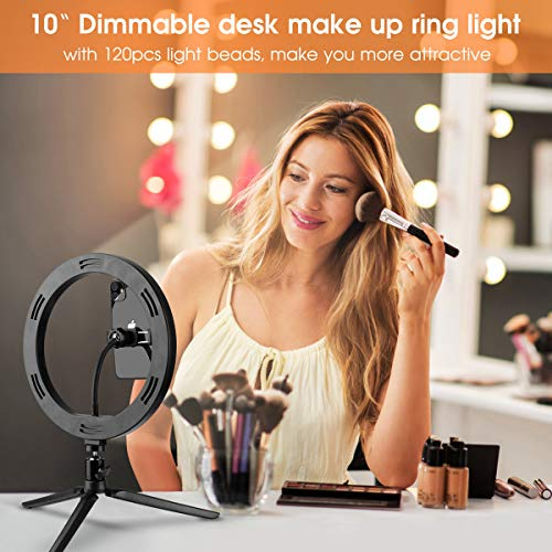 "iKALULA 10"" Selfie Ring Light with Tripod Stand & Cell Phone Holder, Dimmable Desktop LED Circle Light for Live Streaming/Makeup/YouTube, Compatible with iOS and Android Phones"
