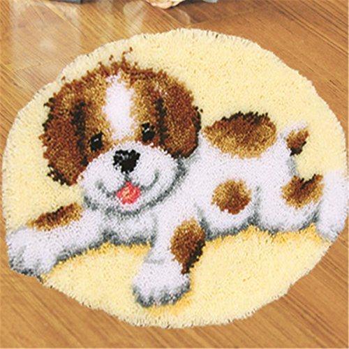 Beyond Your Thoughts Model Dog Latch Hook Kit Rug DIY Needle Craft Shaggy Cute Dog123 20 by 20 Inch (1 Pack)