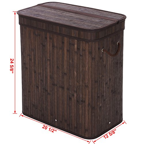 SONGMICS Folding Laundry Basket with Lid Handles and Removable Liner Bamboo Hampers Dirty Clothes Storage Rectangular Dark Brown ULCB63B by SONGMICS (Image #5)