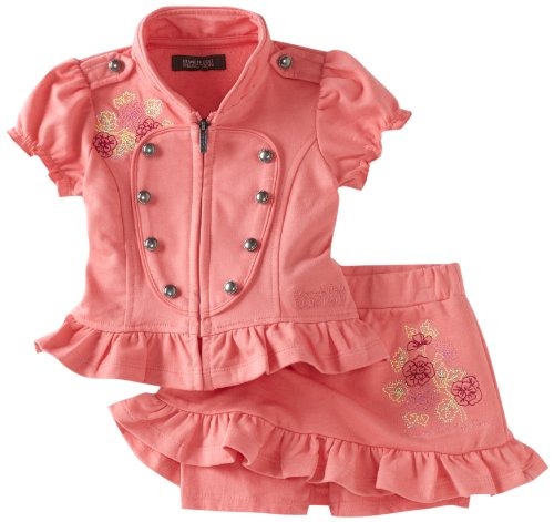 Kenneth Cole Baby Girls' Military Detail Top And Skort, Melon, 12 Months