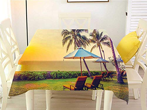 L'sWOW Square Tablecloth Seaside Empty Umbrella and Chairs on The Beach Palm Trees at Twilight Times Vacation Theme Multicolor Patio 50 x 50 Inch ()
