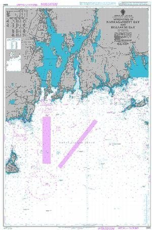 "Ba Diagramm 2890  United Staaten A &   €; ""East Coast, Massachusetts A &   €;"" Rhode Island, nähert zu Narragansett-Bucht und BUZZARDS Bay von UNITED KINGDOM Hydrographic Büro"