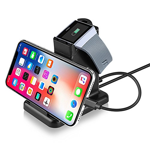 Moutik Ionic Charger for Fitbit-Watch Phone Tablet Smart Mobile 2 in 1 Charger Stand Holder Magnetic Charging Dock Station for Fitbit Ionic Smart Watch with 3.3ft USB Charging Cable