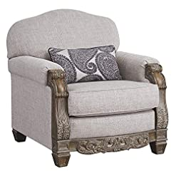 Farmhouse Accent Chairs Signature Design by Ashley – Sylewood Elegant Classic Chair, Slate Gray farmhouse accent chairs