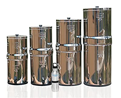 Berkey Stainless Steel Water Filter Fluoride Filter Bundle with Naples Naturals Water Bottle