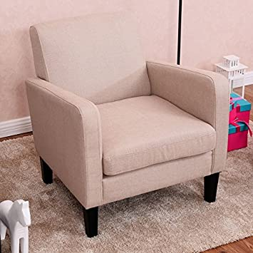 Amazon.com: Costway Leisure Arm Chair Accent Single Sofa Fabric ...