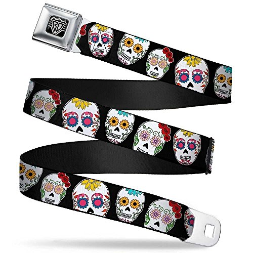 Buckle-Down Unisex-Adult's Seatbelt Belt Regular, Staggered Sugar Skulls Close/up Black/Multi Color, 1.5