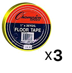 Champion Sports Bundle: (Set of 3) 1x36yd Floor Tape Yellow with 1 Performall Lanyard 1X36FTYL-3P