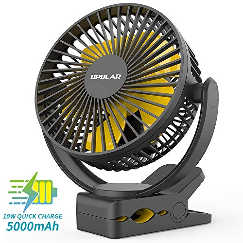 OPOALR 2019New 5000mAh Rechargeable Battery Operated Clip On Fan, Super Quiet & Strong Wind USB Fan, Portable Strong Clamp Personal Fan for Golf Cart, Office Desk, Stroller, Treadmill, Camping - Strong Wind