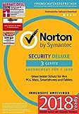 Norton Security Deluxe Antivirus Software 2018 / Zuverlässiger Virenschutz (Jahres-Abonnement) für bis zu 3 Geräte / Download für Windows (u.a. Vista, 8 & 10), Mac, Android & iOS