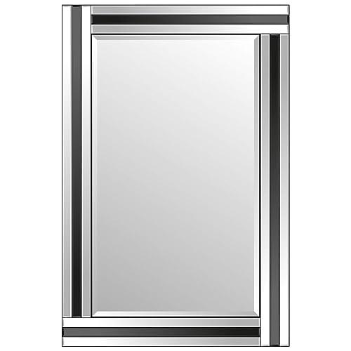 Large Bathroom Black + Silver Bevelled Triple Edge Wall Mirror 60cm X 90cm