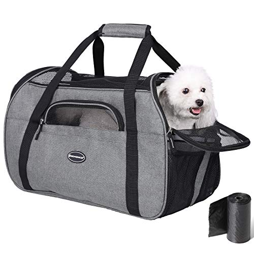 SONGMICS Foldable Portable Pet Carrier, 18.9″ Airline Approved Soft-Sided Travel Bag, Perfect for Small Cats Dogs Puppy Kitten, Made of Quality Cationic Fabric and Tear-Resistant Mesh, UPDC51GY Gray