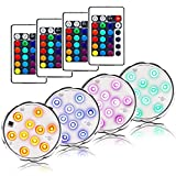 AomeTech LED Waterproof Battery Powered Submersible Led Lights Accent Lights Night Mood Lights with Remotes for Wedding, Centerpiece, Halloween, Party, Garden Lights (4pack-10led)